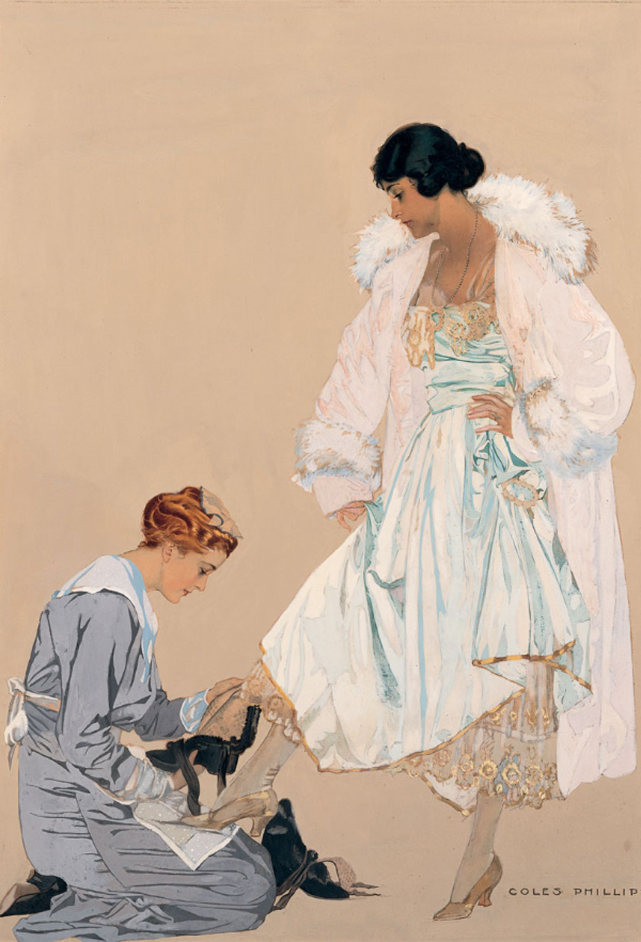 "Coles Phillips' c. 1916 work ""High Fashion (Maid & Lady)"""
