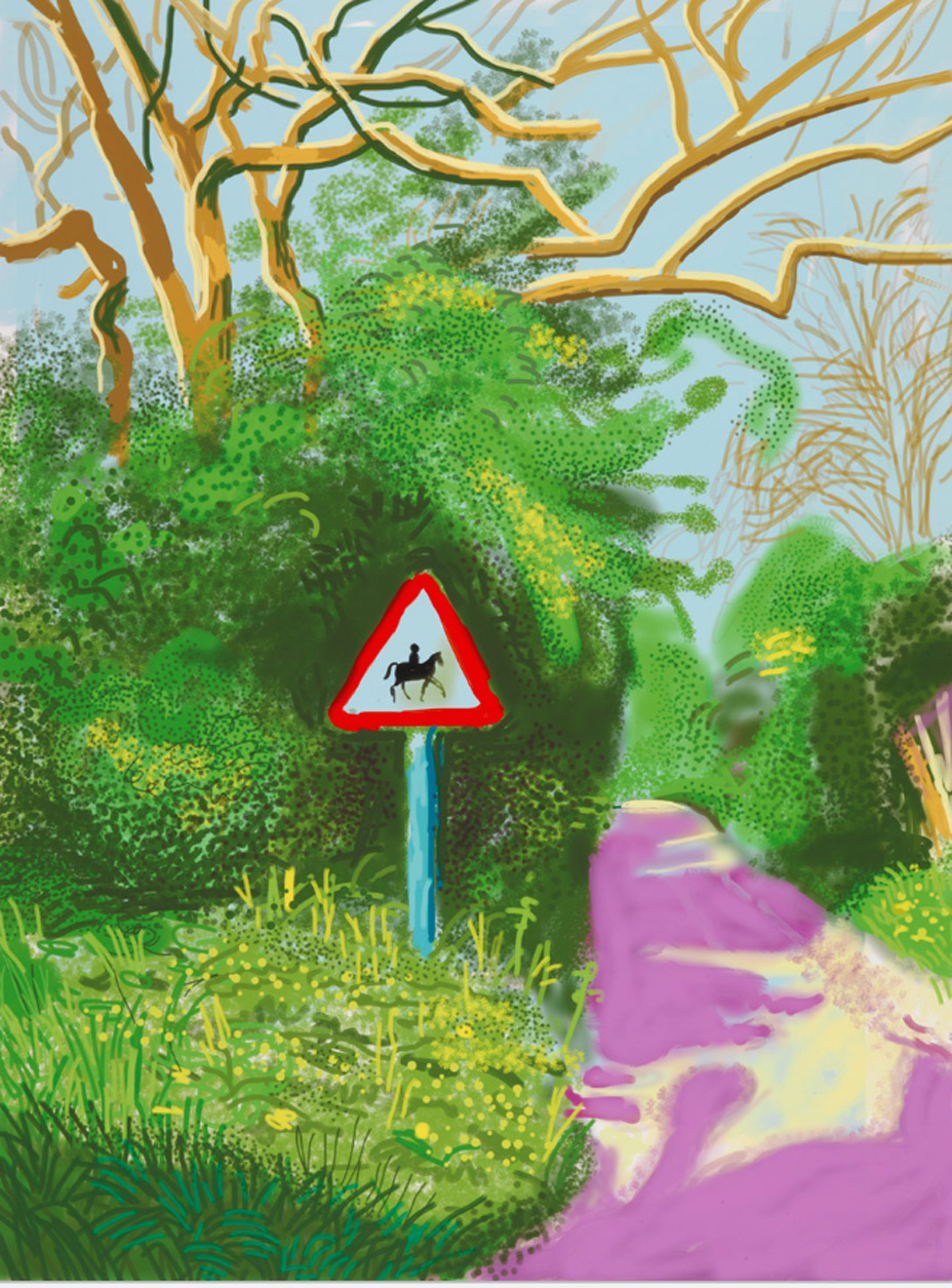 "David Hockney's 2011 work ""The Arrival of Spring in Woldgate, East Yorkshire in 2011 - 5 May"""