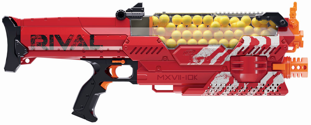 nerf 39 s awesome new rival nemesis gun blasts 100 rounds at 70 mph geektyrant. Black Bedroom Furniture Sets. Home Design Ideas