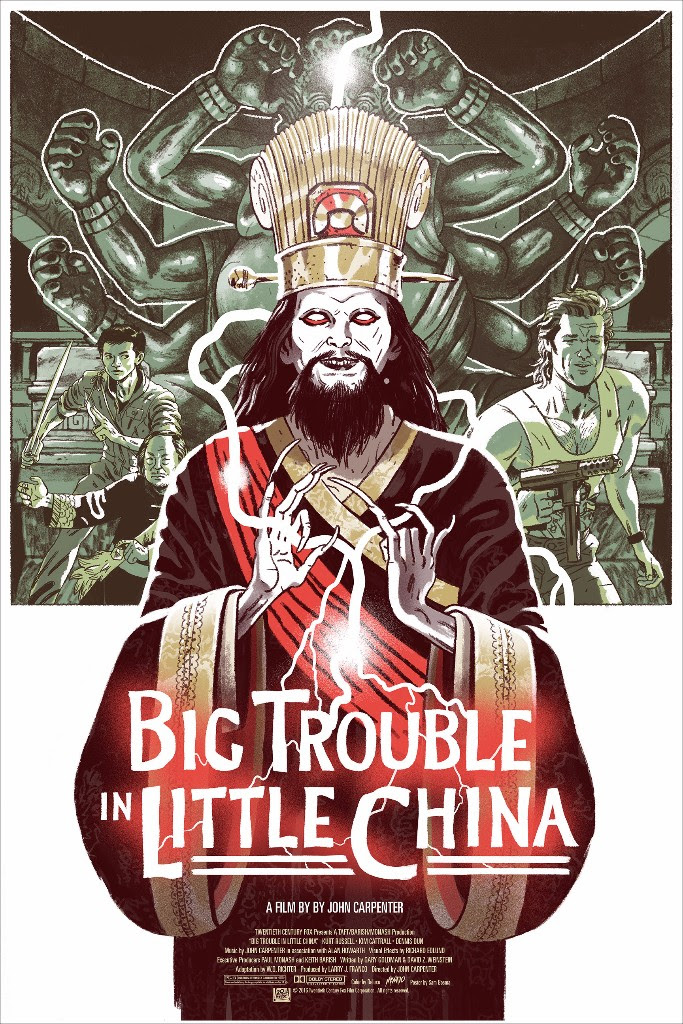 "Big Trouble in Little China by Sam Bosma. 24""x36"" screen print. Hand numbered. Edition of 275. Printed by D&L Screenprinting. $45"