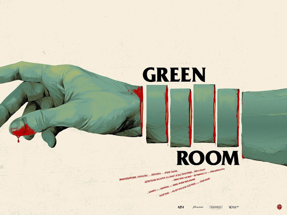 "Green Room by Oliver Barrett. 24""x18"" screen print. Hand numbered. Edition of 175. Printed by D&L Screenprinting. $45"