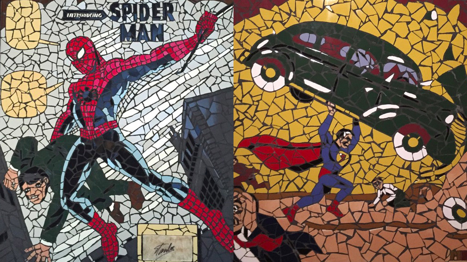 This Guy Uses Shattered Tile Pieces to Recreate Vintage Comic Book Covers