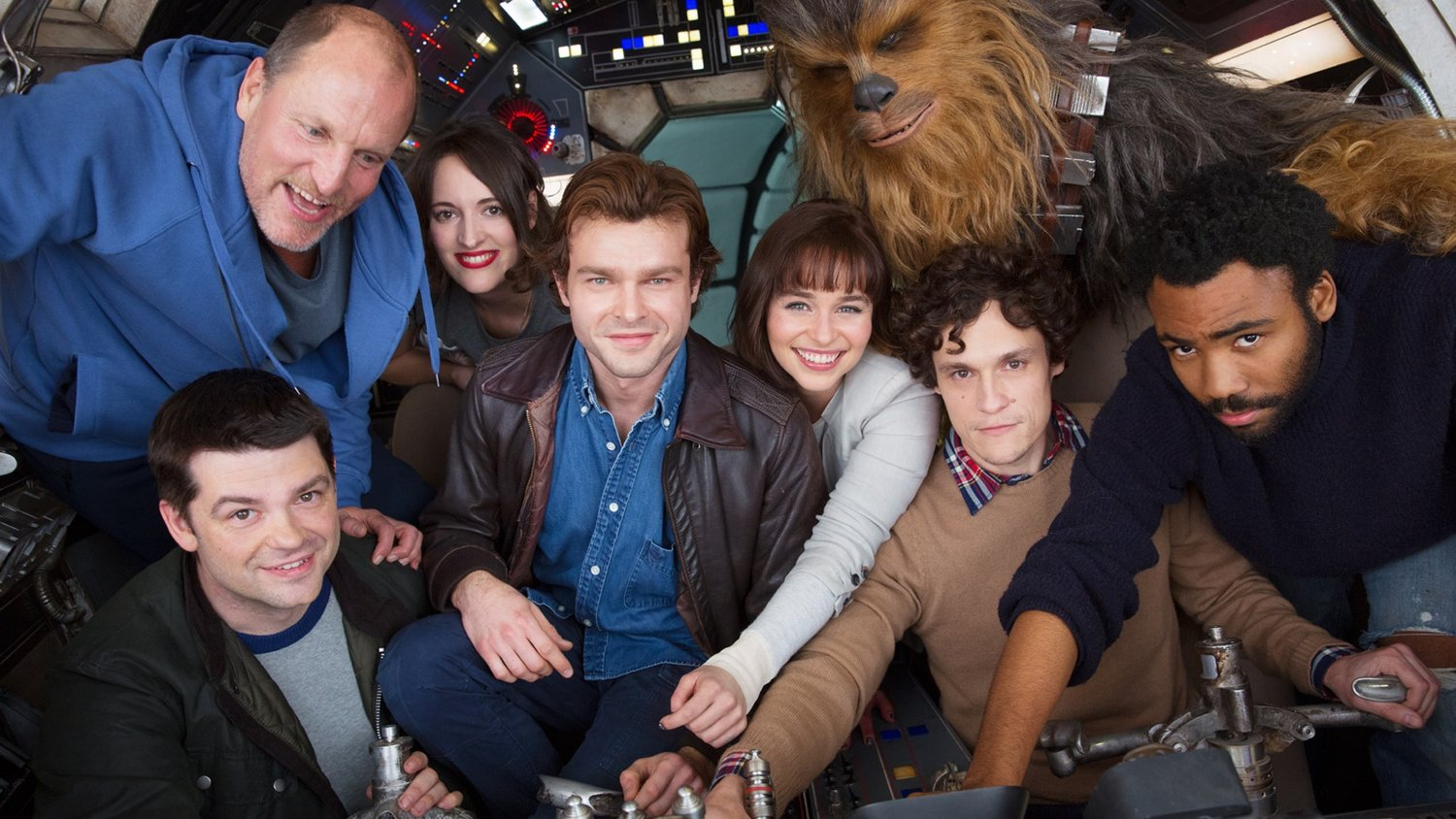 The Cast of the HAN SOLO Movie Pack into the Millennium Falcon for a Photo!