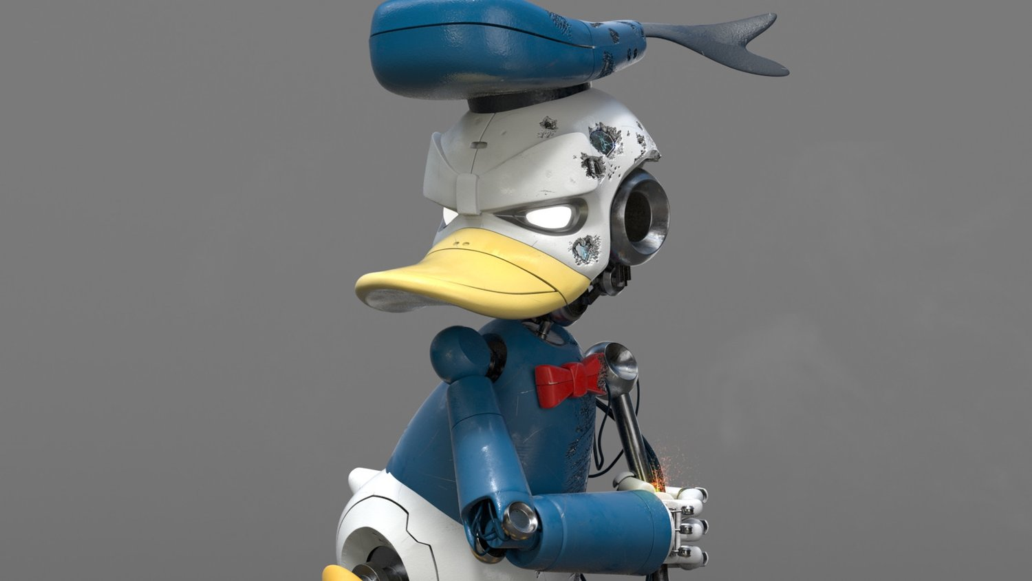Donald Duck Reimagined as a Sinister-Looking Cyborg
