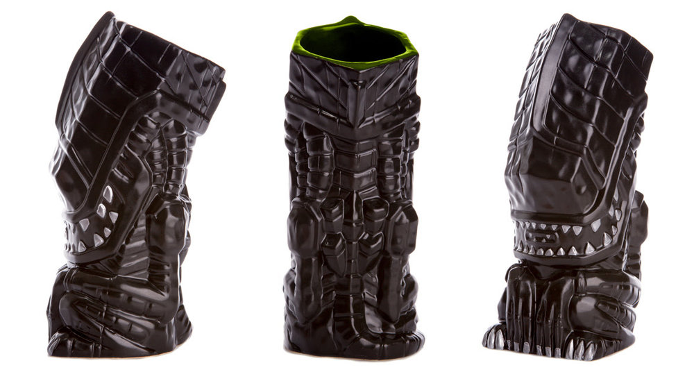 "Aliens Ceramic Tiki Mug (Hive). Features a Matte Black Finish, with Silver Teeth and Nails, and Green Interior. Available from 12PM CST on 3/28 through 12PM CST on 3/3. Approx. 8"" in height, Material: Ceramic. Artists: Michael Bonanno, Tom ""Thor"" Thordason, Tiki Farm. Expected to Ship Summer 2017. $32"