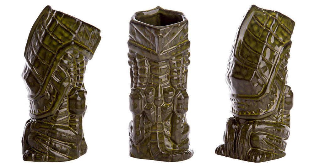 "Aliens Ceramic Tiki Mug (Acid Blood). Features a Dark Green Finish. Limited to 200. Approx. 8"" in height, Material: Ceramic. Artists: Michael Bonanno, Tom ""Thor"" Thordason, Tiki Farm. Expected to Ship Summer 2017. $42"