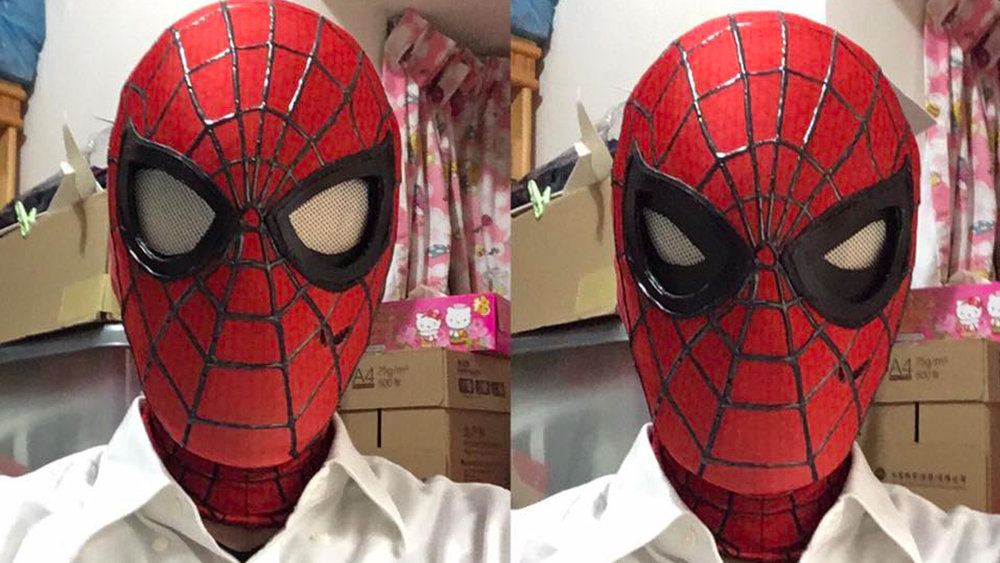 One of the coolest aspects of Spider-Manu0027s costume is the way his eyes can express clear emotions even from within the confines of the red and black suit. & This Cool Spider-Man Mask Has Functional Shutter Lenses u2014 GeekTyrant