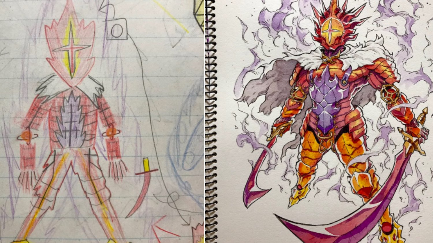 Anime artist turns more of his sons drawings into cool character art geektyrant