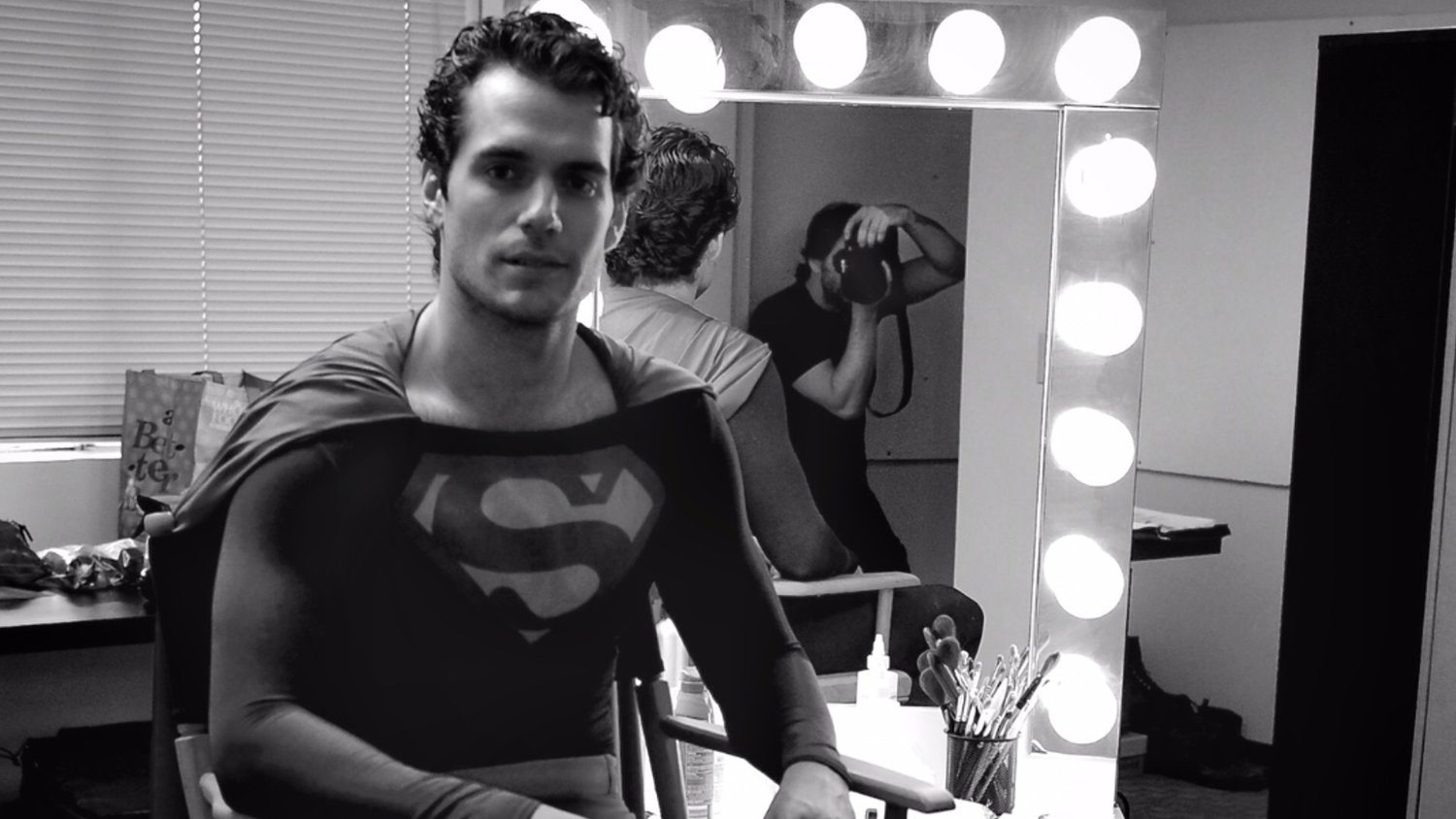 Photo of Henry Cavill Wearing Christopher Reeves' Superman Suit For His MAN OF STEEL Audition