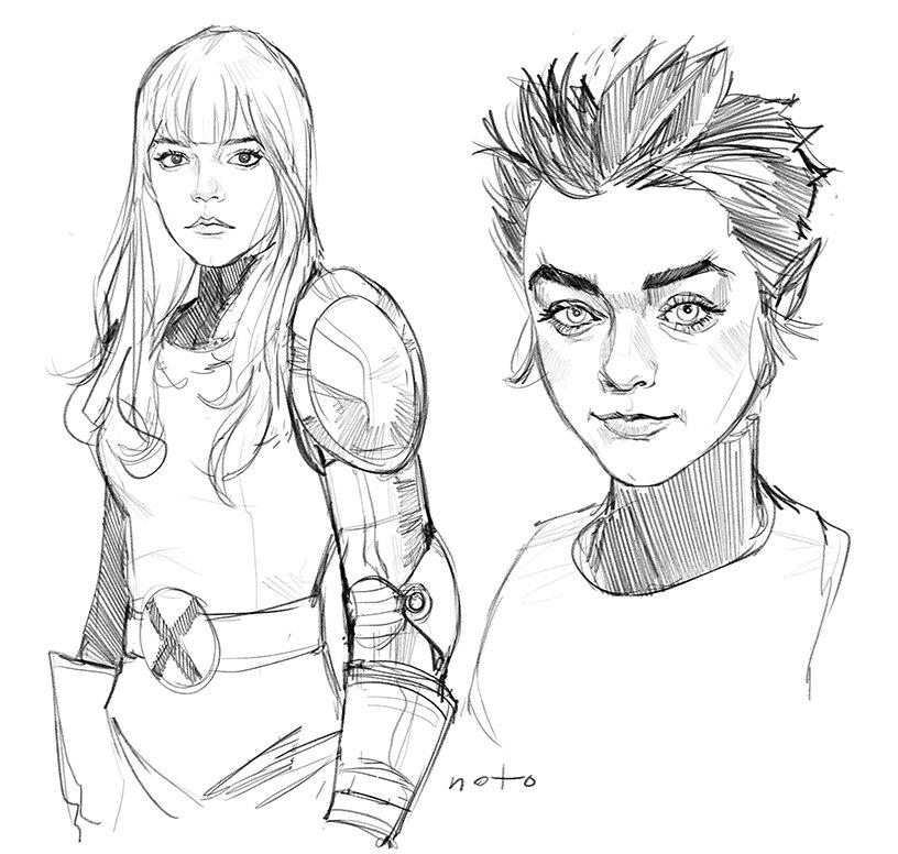 comic artist phil noto creates new mutants art of maisie williams as wolfsbane and anya taylor