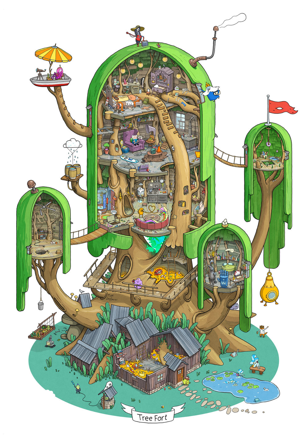 Cool ADVENTURE TIME Fan Art Offers a Detailed Look at Finn ... How To Draw A Cool Tree House