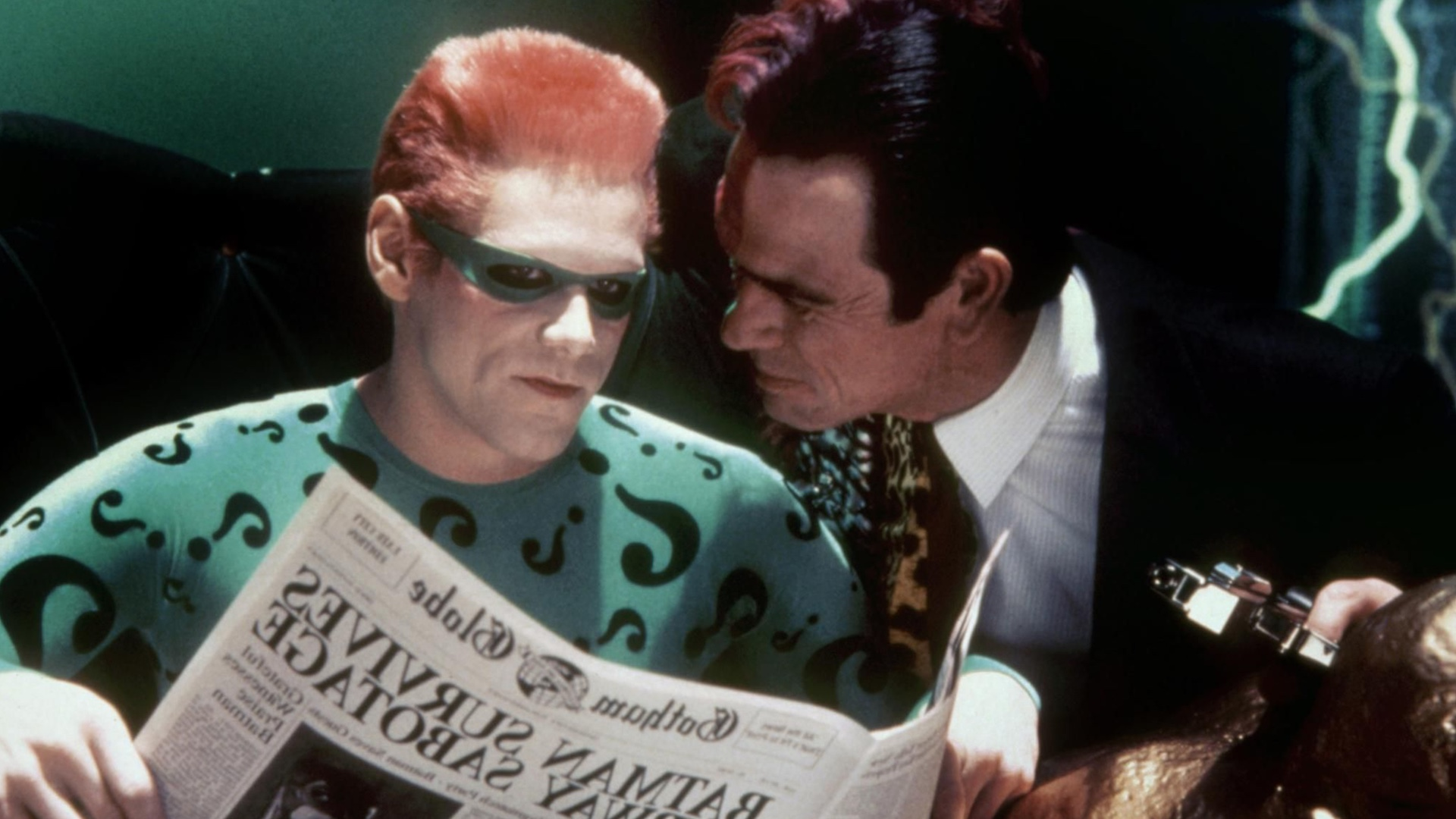 I Always Thought That The Chemistry Between Tommy Lee Jones Two Face And Jim Carrey Riddler In Batman Forever Was A Little Weird