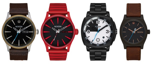 From Left to Right: Luke Skywalker Sentry Leather in Black/Brown, $175.00; Praetorian Guard Sentry in Red, $275.00; Stormtrooper Executioner Charger in Black/White, $275.00; Rey Medium Time Teller in Black/Brown, $120.00