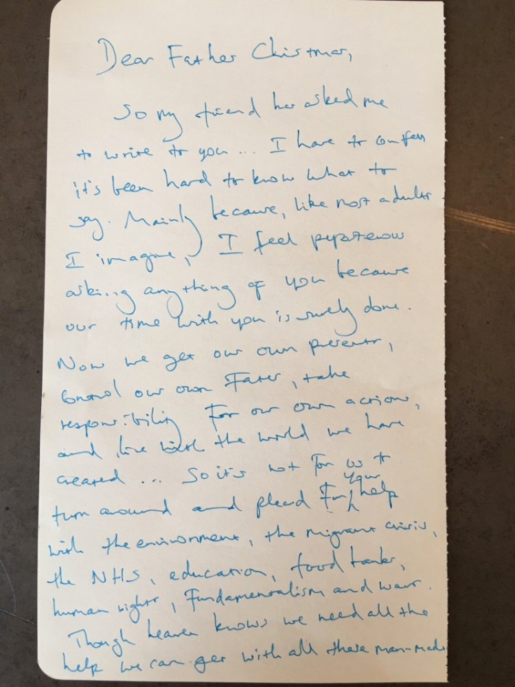 Benedict cumberbatch wrote a beautiful letter to santa geektyrant you can read the entire letter over on the letters live website and as an added bonus ive included a picture of the handwritten letter at the bottom spiritdancerdesigns Gallery