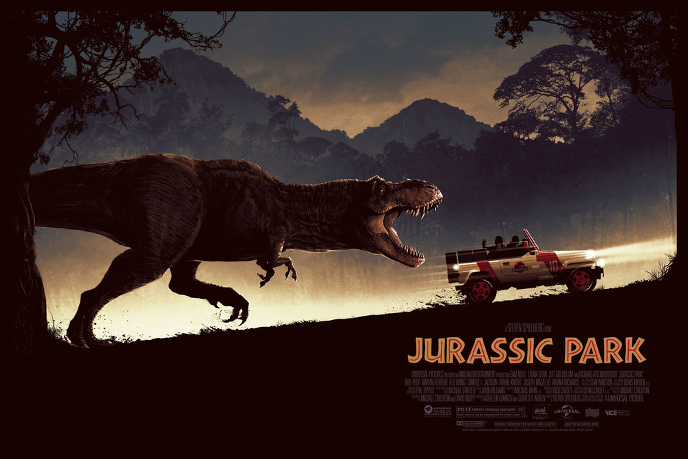 """Matt Ferguson """"Jurassic Park"""" screen print, 36 x 24 inches, numbered edition of 250, co-Released with Vice Press, available for $50"""