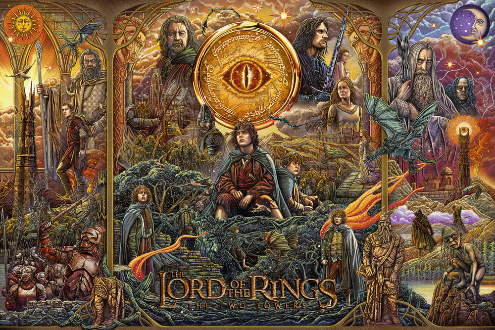"""Ise Ananphada """"Lord of the Rings: The Two Towers"""" 14 color screen print, 36 x 24 inches, numbered edition of 275, available for $75"""