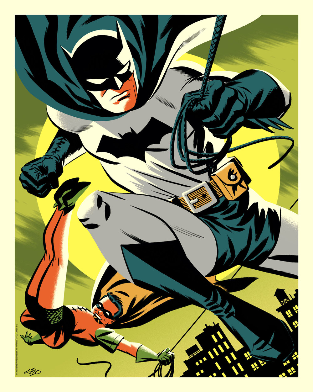 """Michael Cho """"Batman & Robin"""" Bottleneck variant lithograph, 16 x 20 inches, numbered edition of 80, available for $30"""