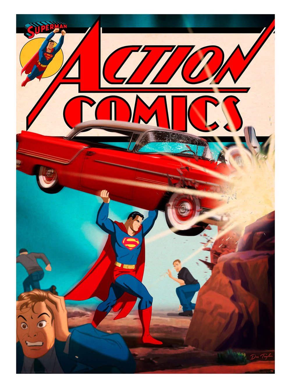 """Des Taylor """"Action Comics #1"""" giclee, 18 x 24 inches, numbered edition of 100, available for $45"""