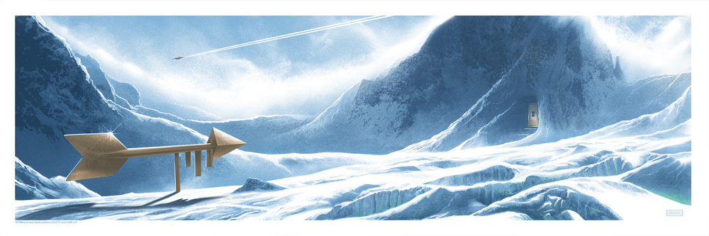 """JC Richard """"Fortress of Solitude"""" screen print, 18 x 36 inches, numbered edition of 200, available for $50"""