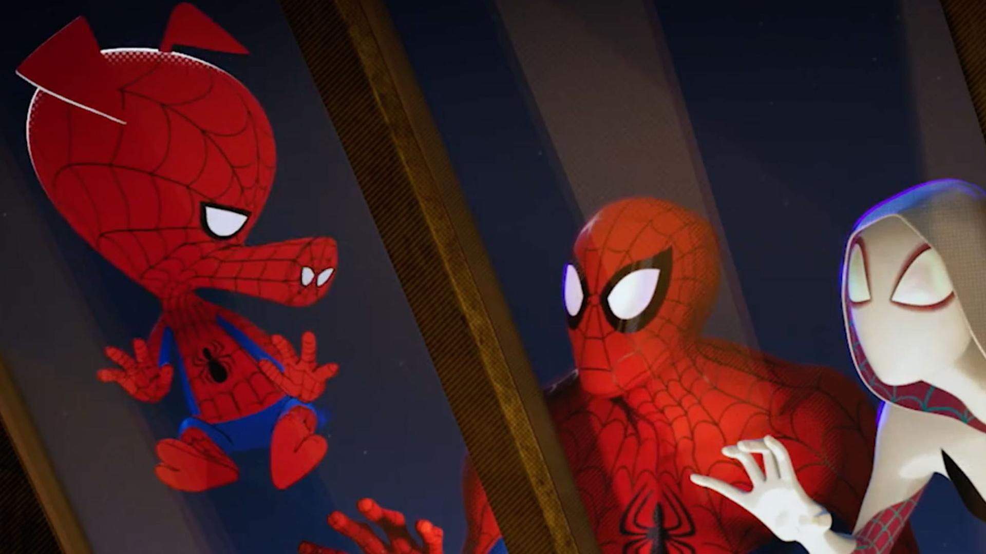 Spider-Ham, Peter Parker and Gwen Stacey. (same, Spider-Ham, same.)