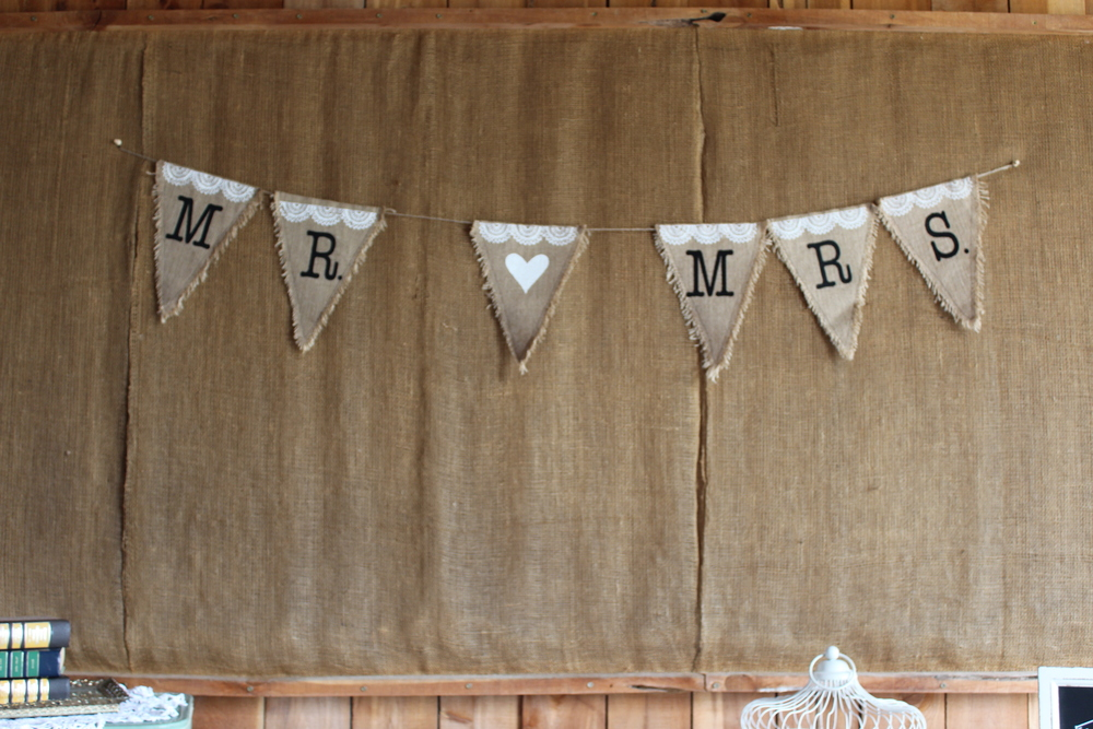 #151 - Burlap Mr. & Mrs. Banner