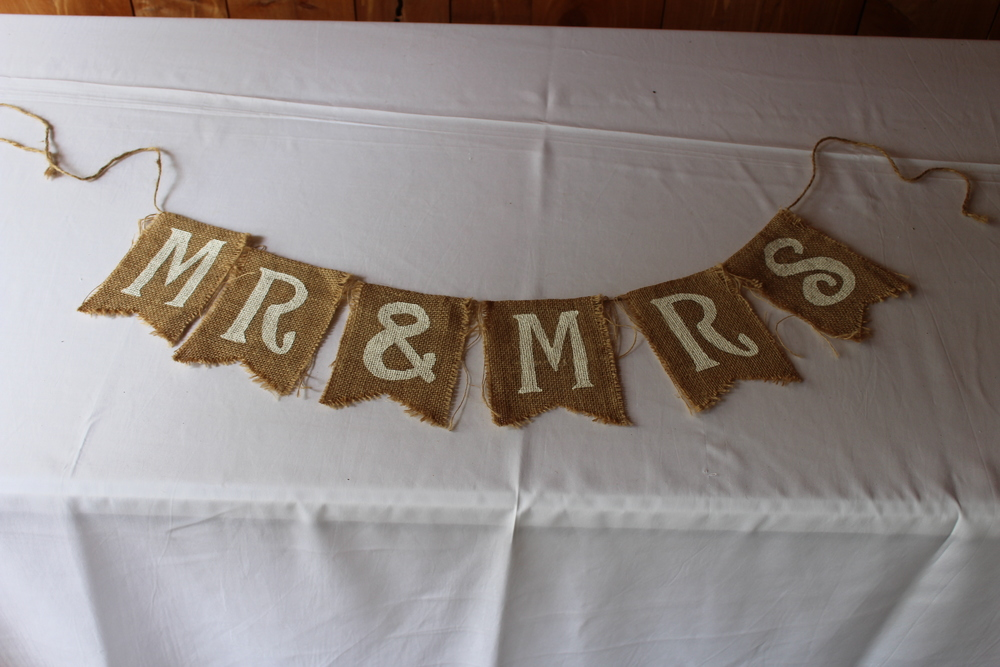 #153 - White Mr. & Mrs. Burlap
