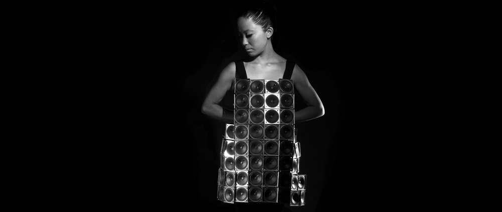The Speaker Dress Self Designed Wearable Sound Sculpture  Photo by Juan Pablo Aragón  2014