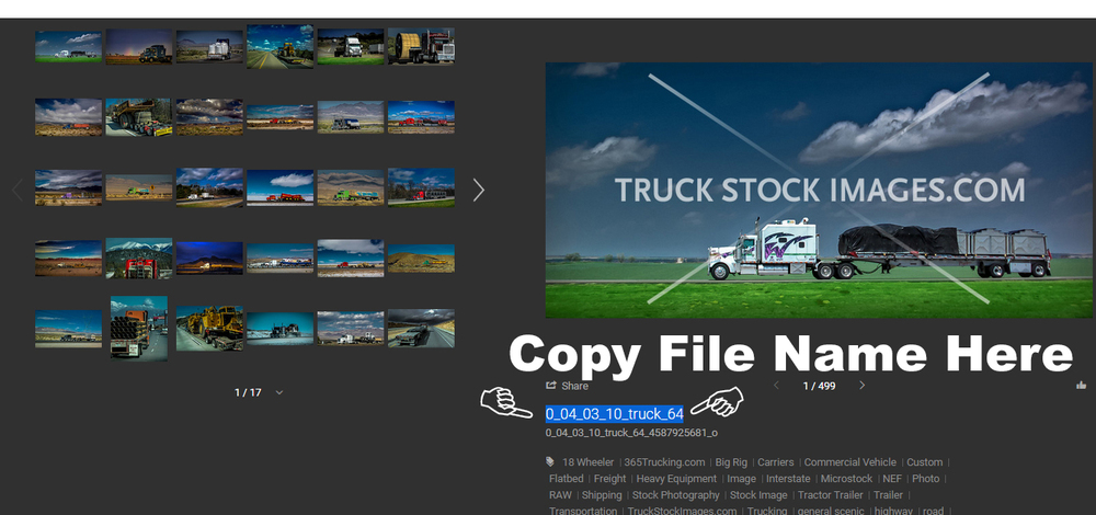 Where to get file name from  Truckstockimages.com