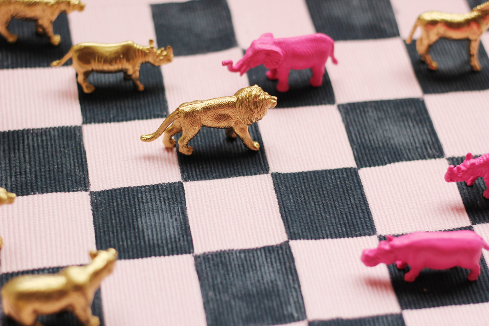 gilded plastic animal checkers diy.JPG
