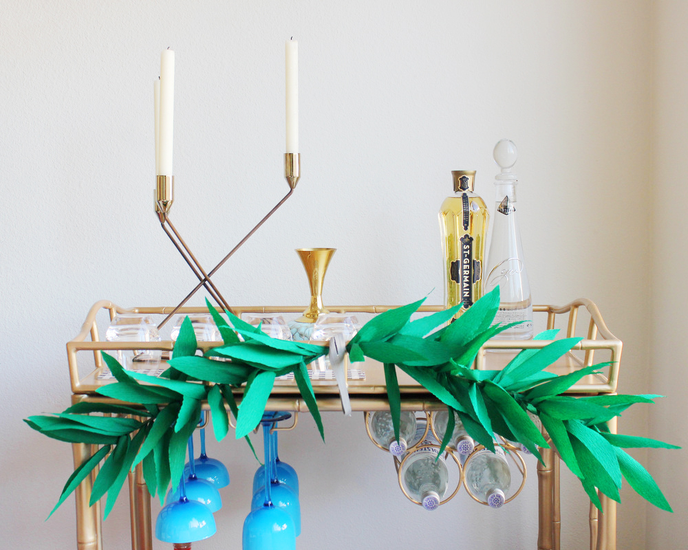 diy crepe paper garland bar cart.JPG