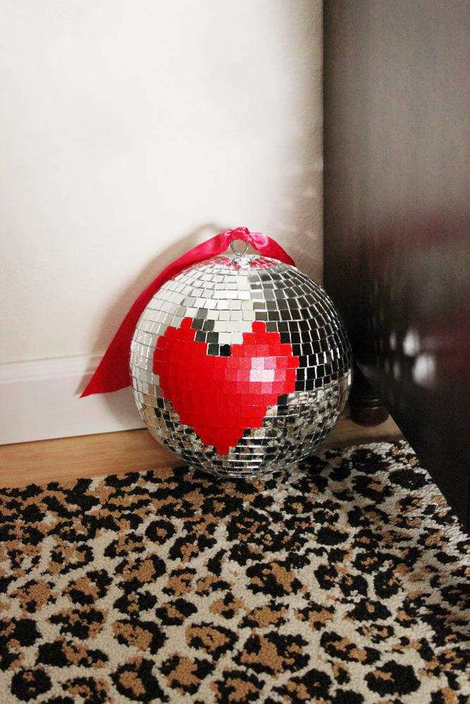leopard rug disco ball.JPG