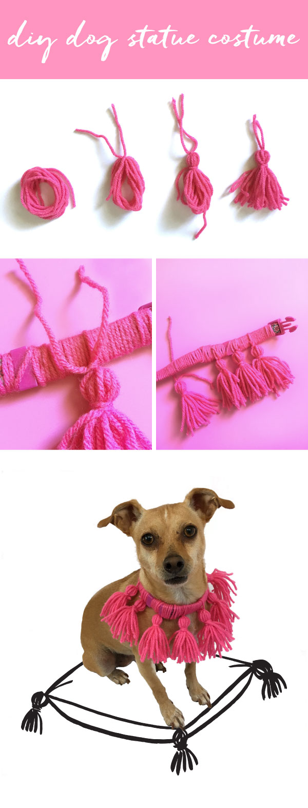Need an easy DIY dog costume? Try this easy DIY tassel dog collar, inspired by vintage Staffordshire dog statues.