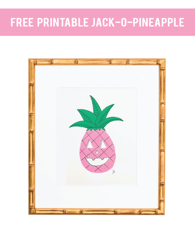 free halloween printable for your bar cart, a halloween pineapple jack-o-lantern, in pink! A perfect dose of bright and kid friendly (non-spooky) decor for your house for halloween.