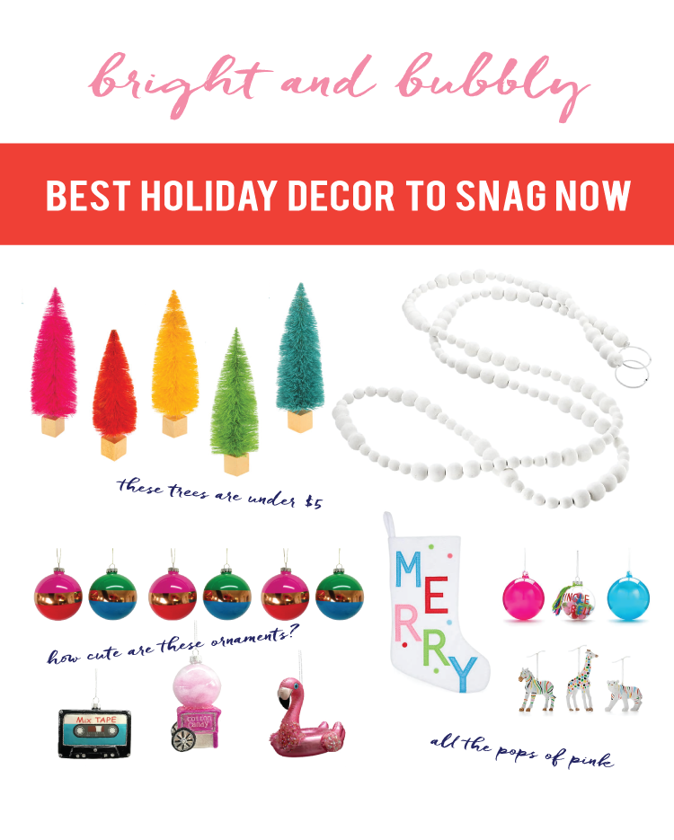 modern fun pops of pink and bright use of color make this collection of holiday decor worth grabbing before they are all gone this year.