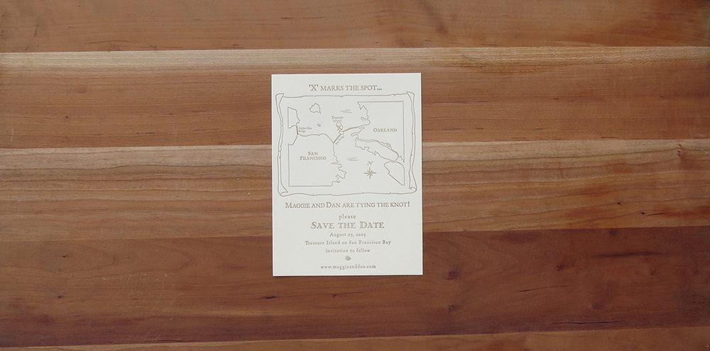 1-color save the date card.        2005