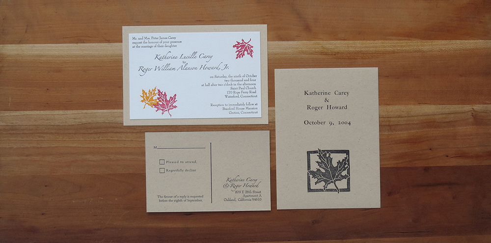 3-color wedding invitation. 2-color RSVP postcard.    1-color program card.     2004