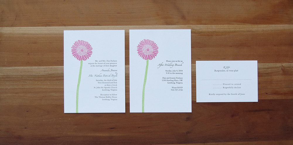 3-color wedding invitation.     3-color brunch card.     1-color RSVP card.        2004