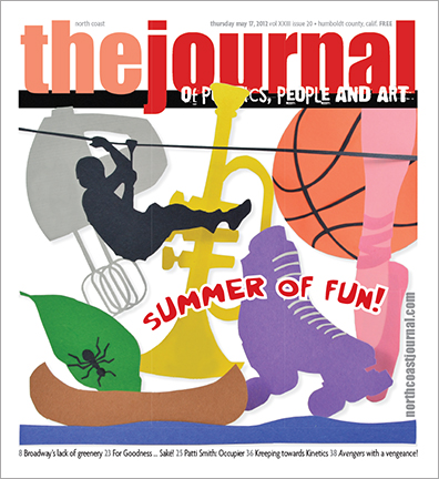 May 17, 2012 cover of the North Coast Journal. Cut paper  illustration for a the annual Summer of Fun issue. Copyright 2012 North  Coast Journal. All rights reserved.
