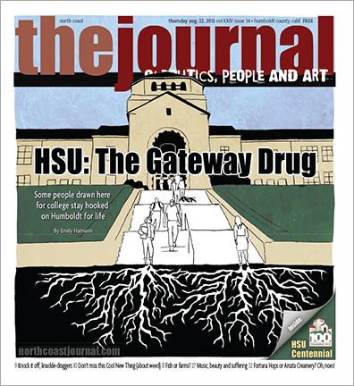 Aug. 22, 2013 cover of the North Coast Journal. Pencil and Photoshop illustration for a story about how many students attend Humboldt State University and become rooted in the community. Copyright 2013 North Coast Journal. All rights reserved.