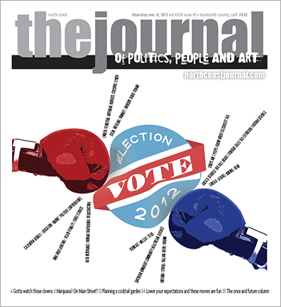 Nov. 8, 2012 cover of the North Coast Journal. Illustrator and Photoshop  illustration for a story about the Nov. 2012 local, state and federal elections. Copyright 2012 North  Coast Journal. All rights reserved.