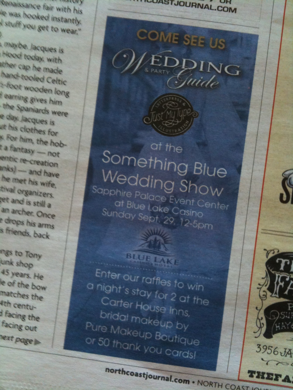 My joint ad with the Wedding & Party Guide in the Sept. 26, 2013 North Coast Journal.