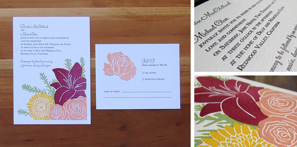 5-color wedding invitation. 2-color RSVP card. 2012  This couple chose to have flowers from their wedding on their invitation. They paired bright summer flowers with dark lilies from a local grower and redwood sprigs.