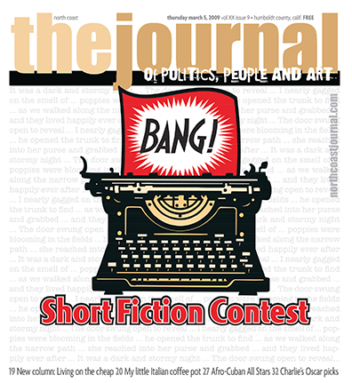 March 5, 2009 cover of the  North Coast Journal . Digital illustration that started out with a boring piece of clip art. Copyright 2009  North Coast Journal . All rights reserved.