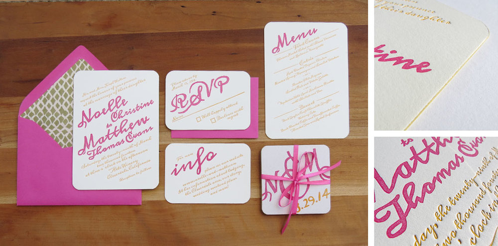 2-color invitation, RSVP card, info card, menu and favor coasters, all with rounded corners and gold painted edges. Lined envelopes. 2014  This wedding wasn't even real! The whole thing was a staged photo shoot that I was invited to be a part of. Photos from the day should be on my blog soon!