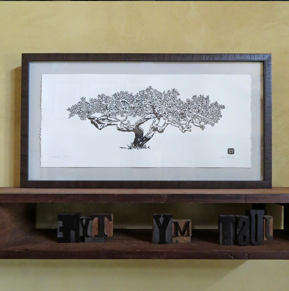 Fern Cottage Plum Tree. ©2015 Just My Type Letterpress. Framed, $250. Unframed, $100.