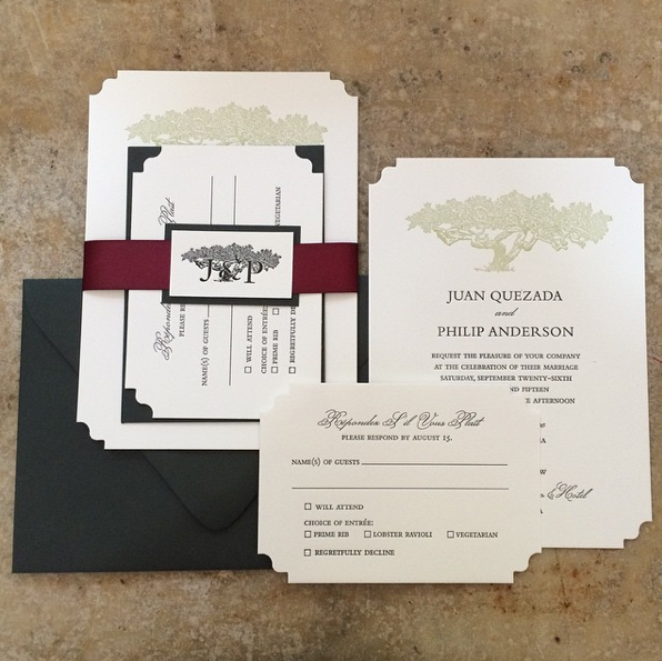 Juan & Philip wedding invitation suite. ©2015 Just My Type Letterpress.