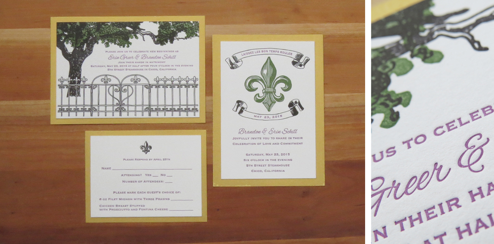 3-color ceremony invitation. 3-color reception invitation. 2-color RSVP card. 2015  This couple got married in California, but really loved New Orleans. They wanted their invitations to include oak trees, the fleur-de-lis motif and the colors green, purple and gold. The green color was printed from hand-carved linoleum blocks, and the purple text and black hand-drawn illustrations were printed from polymer plates. The gold backing paper is Stardream—it has a shimmer to it.