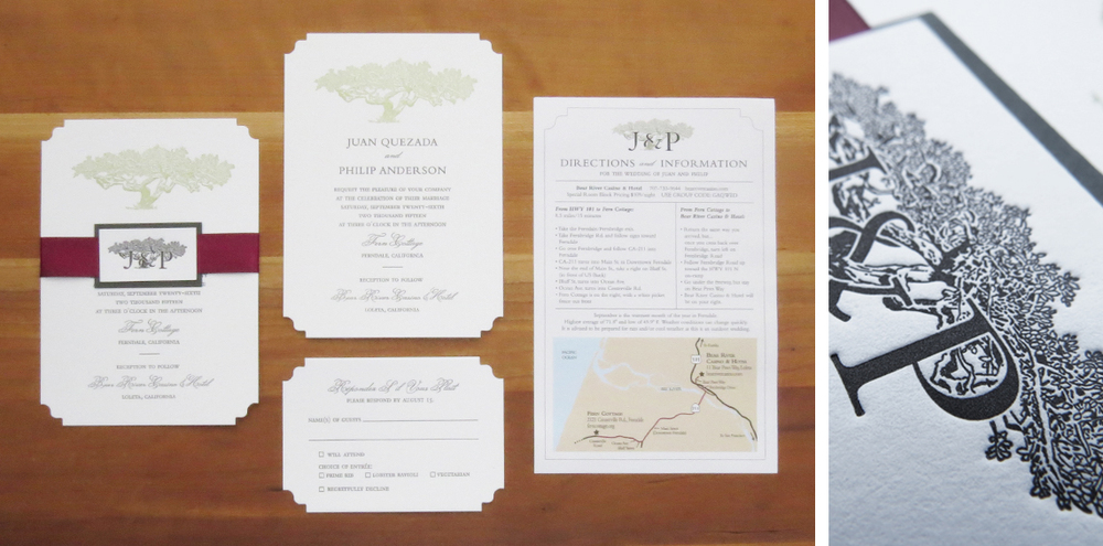 2-color + die cut invitation. 1-color + die cut RSVP card. Digitally printed map/directions sheet. 2015  This couple got married at a location not too far from my studio, so I drove there and took photos of the tree they planned to get married in front of. I made a linoleum block cut of the tree much larger than the final size so it would retain its detail even at a tiny size. I designed the logo on the belly band medallion so they could use it throughout their wedding, and the rest of their lives.