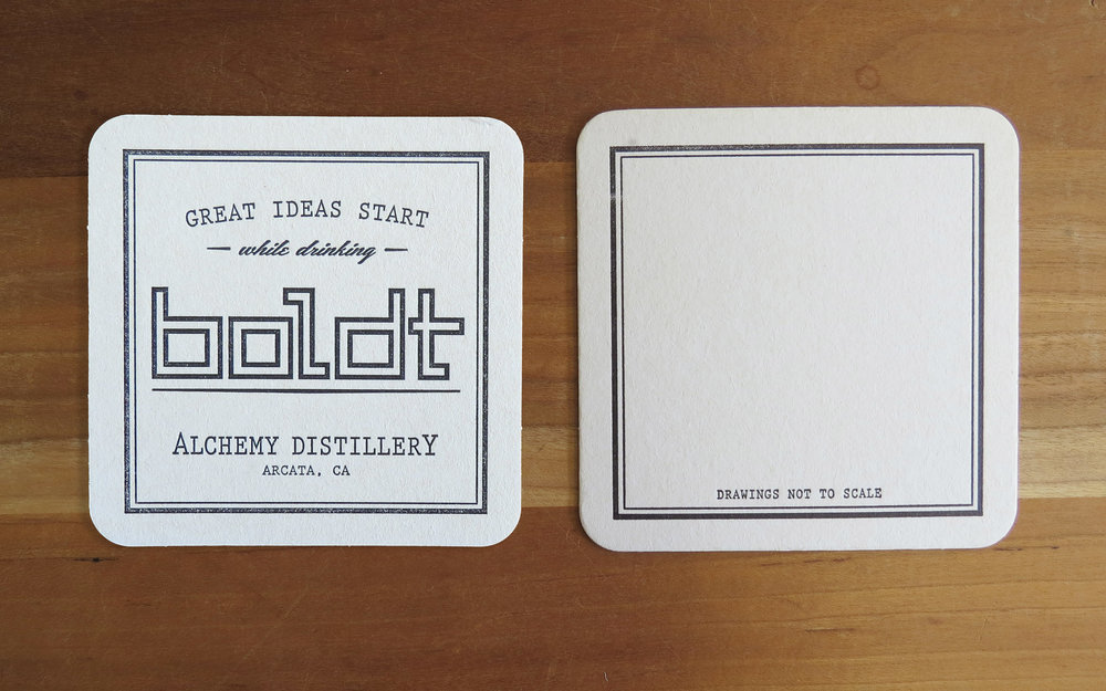 Alchemy Distillery - Boldt coasters. One color, two-sided.