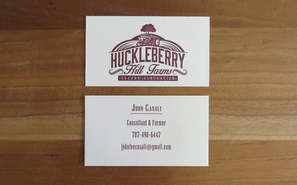 Huckleberry Hill Farms business card - One color, two-sided.
